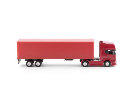 Red long truck with a trailer isolated on white background