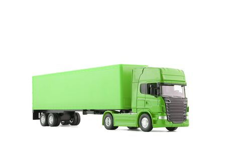 Green long truck with a trailer isolated on white background