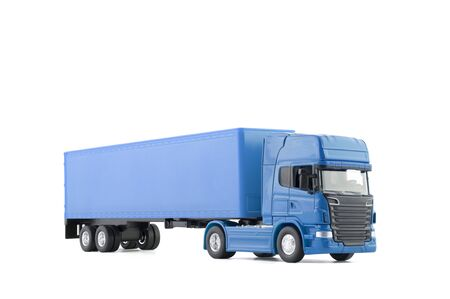 Blue long truck with a trailer isolated on white background