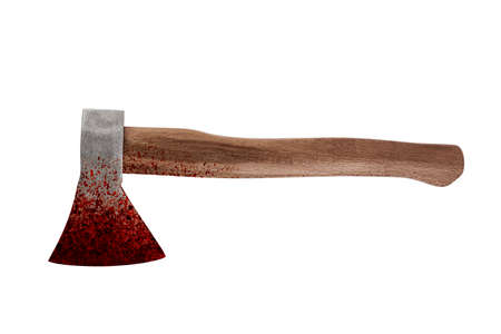 Old bloody ax isolated on white background with cliiping path