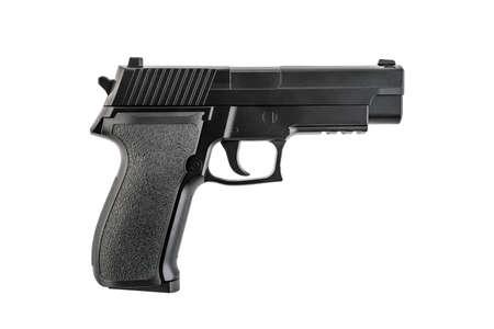 Black pistol gun isolated on white background