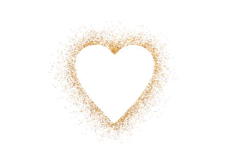 Heart shape on golden glitter over white background