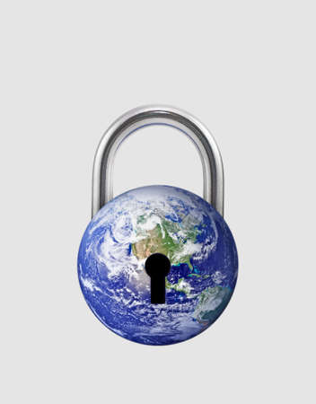 Earth in lock shape. Illustration of Covid-19 pandemic world lockdown for quarantine.