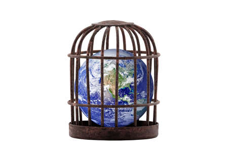 Planet Earth trapped in old rusty cage isolated on white. Lockdown concept.