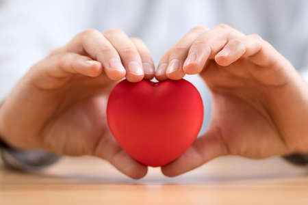 Red heart in hands. Health insurance or love concept. Stok Fotoğraf