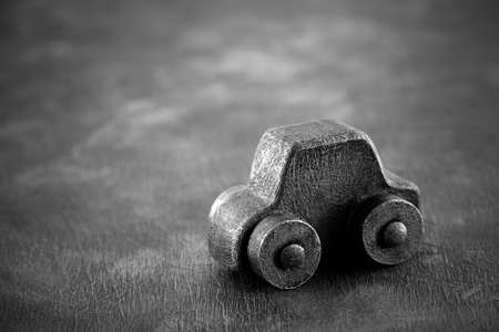 Vintage toy car in black and white