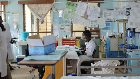 KENYA, KISUMU - MAY 23, 2017: African people working in admission department in hospital. Emergency department in Africa.