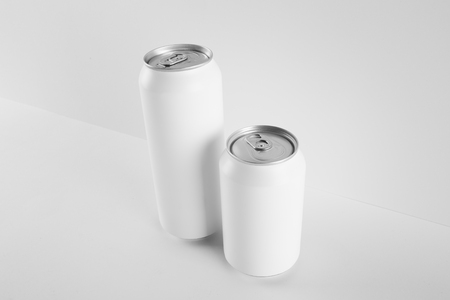 Blank Mock-up Cans on white background, ready to replace your design.