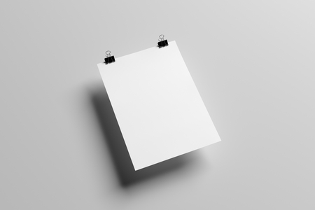 a3: A3 poster with binder clips Mock up