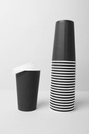 Black paper cups mockup Reklamní fotografie