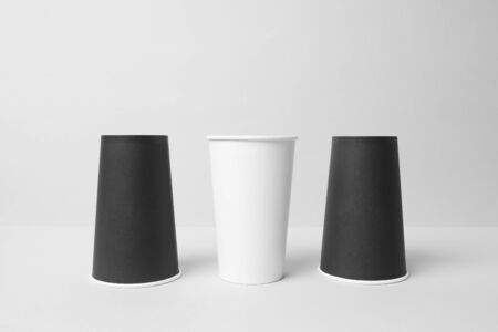 Black and white paper cups mockup