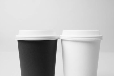 Black and white paper cup mockup
