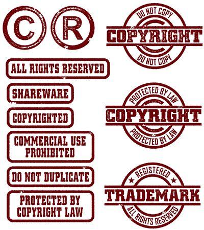 trademark: Copyright y marca registrada sellos Vectores