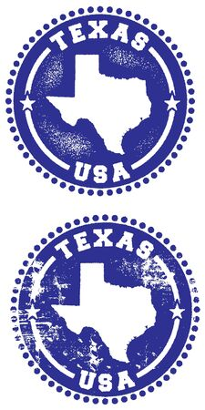 Texas USA Rubber Stamp Style Imprint