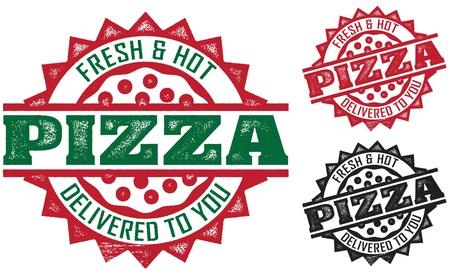 logos restaurantes: Dise�o de sello de entrega de pizza