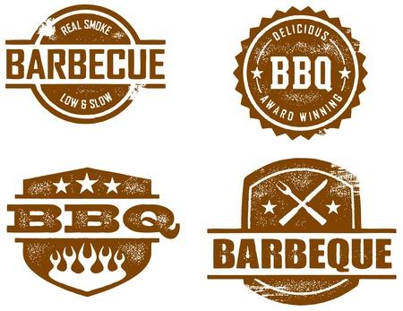 BBQ Vintage Stamped Imprint Illustration