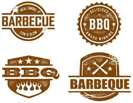 grilled: BBQ Vintage Stamped Imprint Illustration