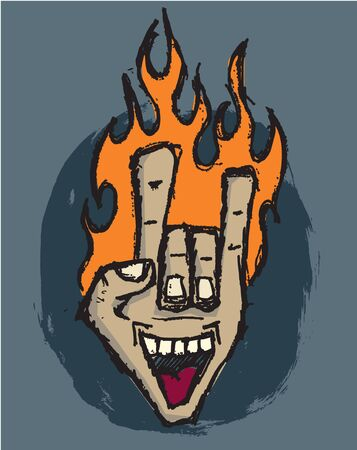 Flaming Hand of Rock Stock Vector - 9781786