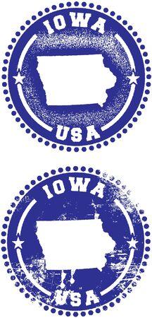 iowa: Iowa USA Stamp Design Illustration