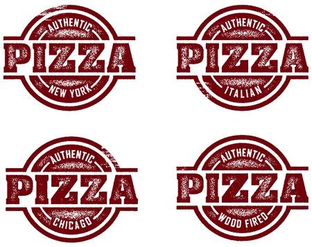 정통 피자 우표 디자인 스톡 콘텐츠 - 9912351