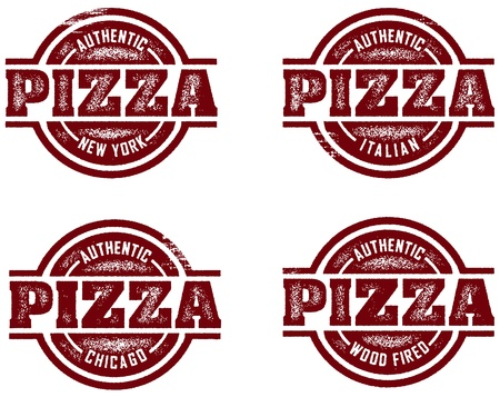 Authentic Pizza Stamp Designs Stock Vector - 9912351