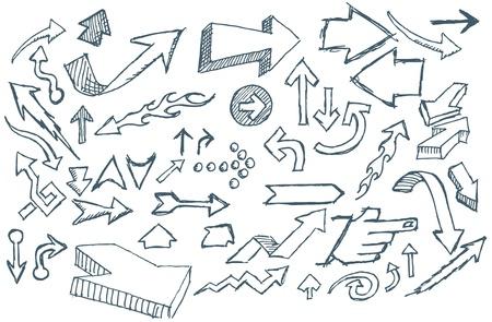 flechas: Mano esbozada Doodle flechas