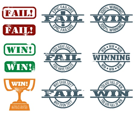 Fail & Win Stamps Vector