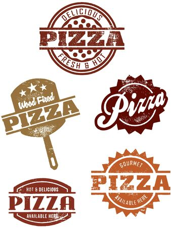 pizza: Vintage Stil Pizza Briefmarken Illustration