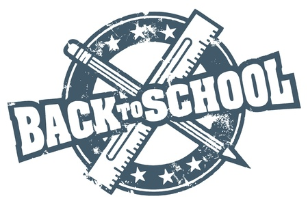 high: Back to School Stamp Illustration