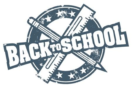 utiles escolares: Volver a la escuela sello Vectores