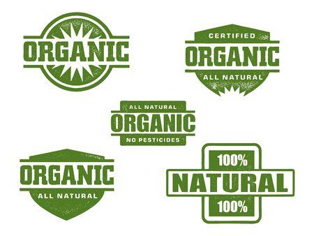 Organische & natuurlijke Rubber Stamps Vector Illustratie