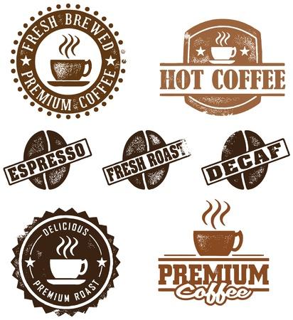 Vintage Style Coffee Briefmarken Standard-Bild - 10104455