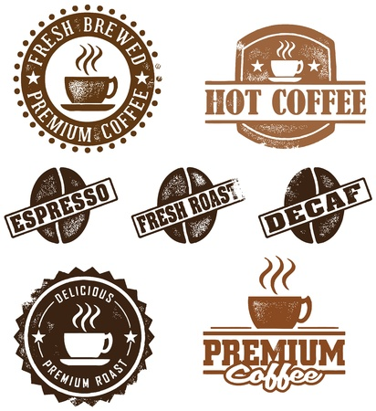 coffee: Vintage Style Coffee Stamps Illustration