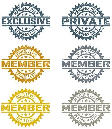 Sellos de caucho de membresía Ilustración de vector