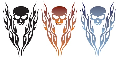 Flame and Skull Tattoo Vector