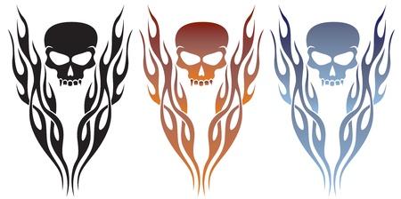 skull tattoo: Vlam en schedel Tattoo Stock Illustratie