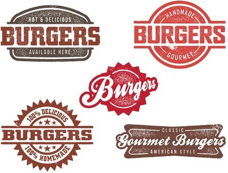 Sellos de hamburguesa estilo vintage