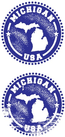Michigan USA State Stamp Stock Vector - 10320673