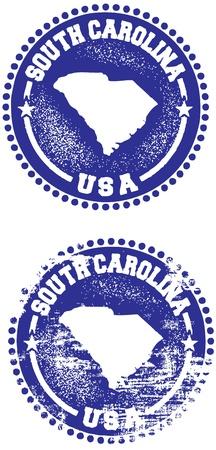 carolina: South Carolina USA State Stamp Illustration