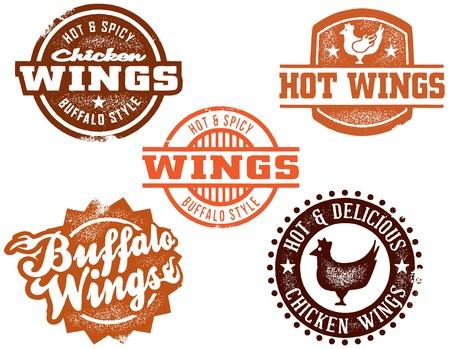 grunge wings: Grafica di ala di pollo caldo