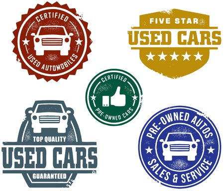 Vintage Used Car Sales Stamps Stock Vector - 10361184