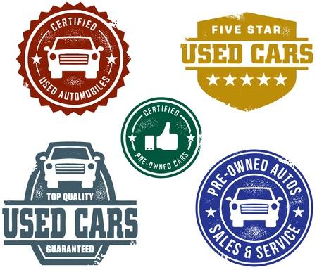 dealership: Vintage Used Car Sales Stamps Illustration