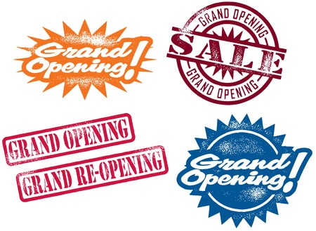 grand sale icon: Grand Opening Stamps Illustration