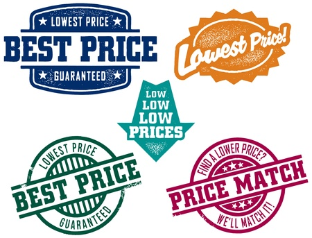 lucifers: Lage prijs Stamps Stock Illustratie