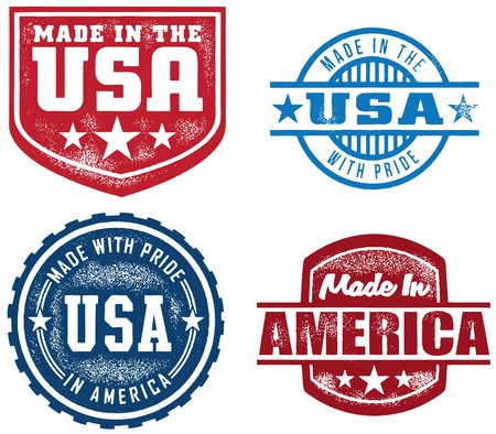 Vintage Made in USA Stamps Vector