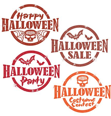 happy halloween: Halloween Stamps Illustration
