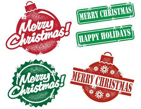 Vintage Style Kerstzegels Stock Illustratie