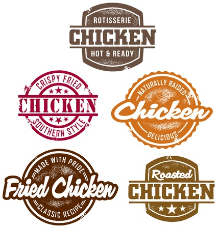 fried chicken: Classic Style Chicken Stamps Illustration