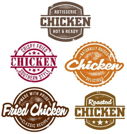 csemege: Klasszikus stílusú csirke Bélyeg Illusztráció