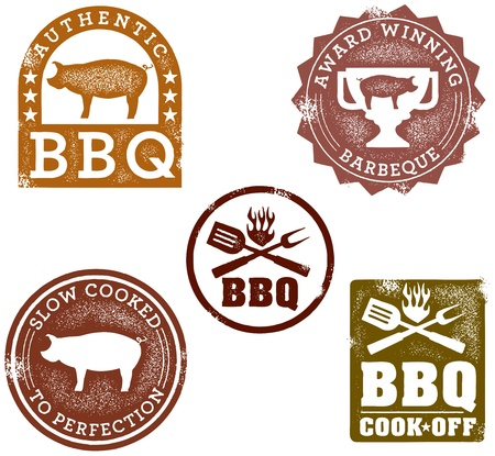 Vintage BBQ Stamps Stock Vector - 11376424